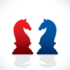 chess red and blue horse