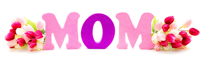 Mothers Day flowers with foam letters spelling MOM