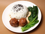Lion head steamed rice