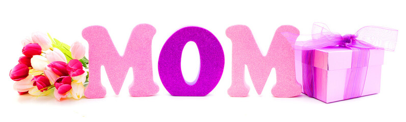 Mothers Day gift box and flowers with foam letters spelling MOM