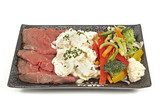 Roast beef with potato salad and vegetables