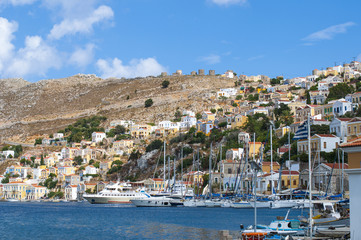 Symi island Landscape view, Aegean Sea Greece