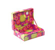 Colorful opened paper jewelry box with empty space
