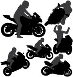 Fototapety Motorcycle rider silhouettes set. Layered and fully editable