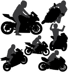 Motorcycle rider silhouettes set. Layered and fully editable