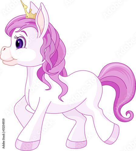 Poster Pony Cute horse princess walking