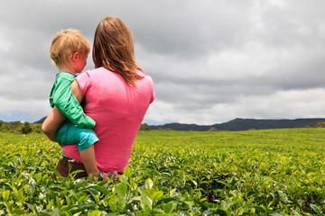 family in tea field