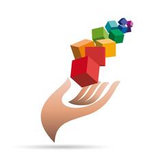 Vector logo Hand and pixels