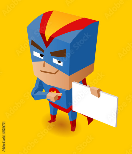 Spoed canvasdoek 2cm dik Superheroes Superhero with sign board