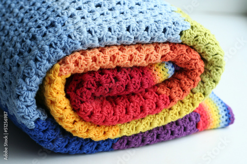 rainbow crocheted blanket - 51256987