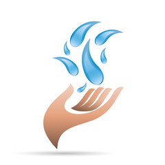 Vector logo Hand and water