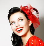 Vitality. Cheerful Young Woman with Red Bow enjoying. Pleasure poster