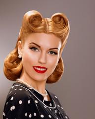 Nostalgia. Styled Woman with Retro Golden Hair Style. Nobility