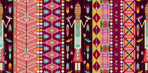 Poster Seamless colorful aztec pattern with birds, flowers and arrow