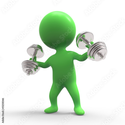 Green man works out with dumbells