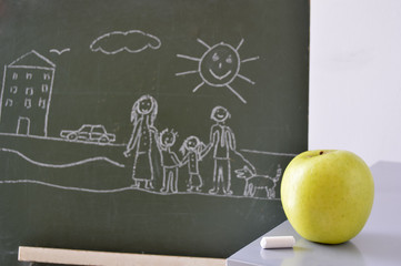 blackboard with a drawing of a boy and an apple to eat