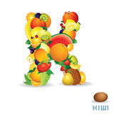 Vector Alphabet From Fruit. Letter K