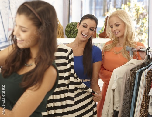 Women at clothes store