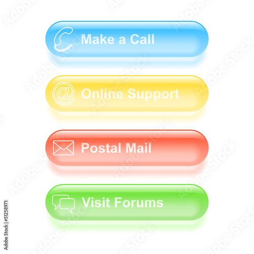 Set of customer support labels. Vector illustration