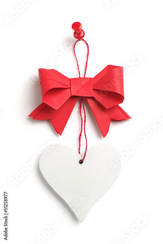 Red bow with a heart