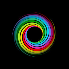 Vector Rainbow Vortex on black Background
