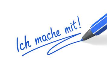 Stift- & Schriftserie: Ich mache mit! blau