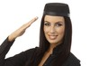 Closeup portrait of happy saluting air hostess