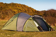 dome tent pitched in field