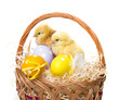 a basket with easter eggs and chickens