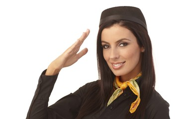 Closeup portrait of attractive flight attendant