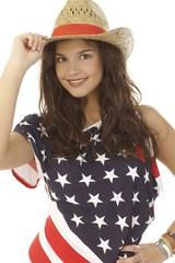 Closeup portrait of American beauty