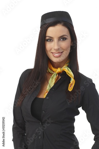 Portrait of pretty air hostess smiling