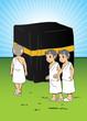 Muslim children learning manasik hajj