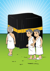 Muslim children learning manasik hajj