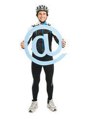 Young Male Cyclist Holding Email Symbol
