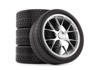 render of wheels, isolated on white