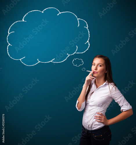 Beautiful lady smoking cigarette with idea cloud