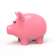 Pink piggy bank side view