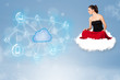 Happy woman sitting on cloud with cloud computing