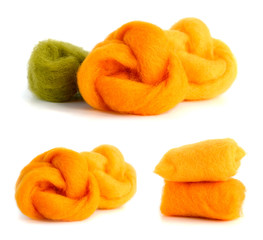 Colored wool for needlework.