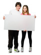 Happy Young Couple Holding Blank Placard
