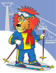 Lion is mountain skier