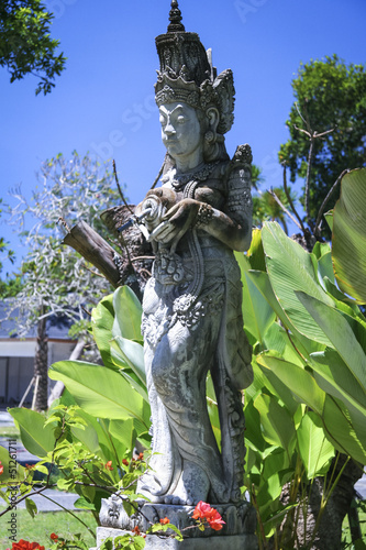sanur temple statue tropical garden