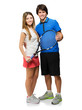 Young Couple Holding Racquet