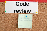 Code review section with paper ticket on cork kanban
