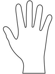 Schwarze Kontur einer rechten Hand – Vektor und freigestellt