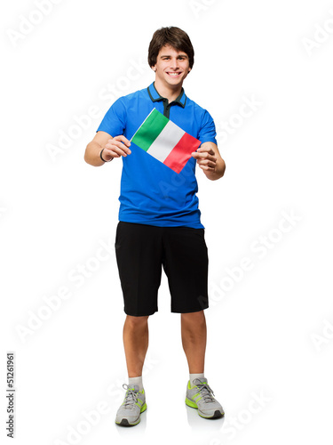 Young Man Holding Italy Flag