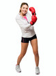 Young Woman With Boxing Glove