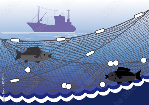 Silhouette of seiner, fishing nets, two fish against the sea.