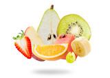 Flying fresh fruits.